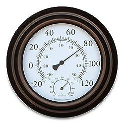 Bjerg Instruments 8 Metal Decorative Indoor/Outdoor Thermometer and Hygrometer (Bronze)
