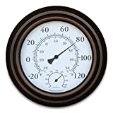 8'' Metal Decorative Indoor / Outdoor Thermometer and Hygrometer (Bronze)