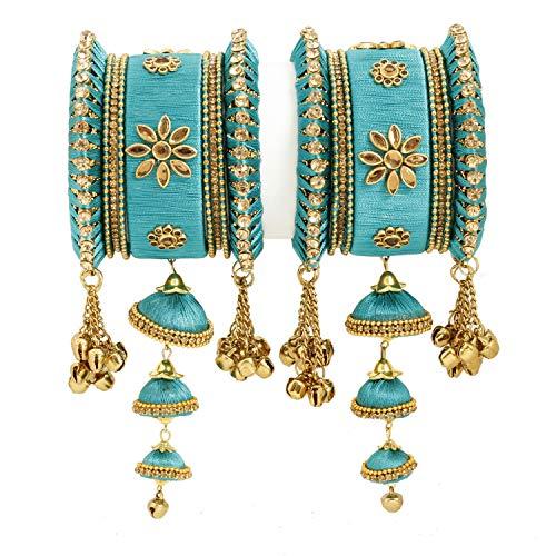 Vishal-Vatika Indian Fashionable Silk Thread Party Wear Bangle for Women Bracelet/Kada Set (Blue, 2.4) ()