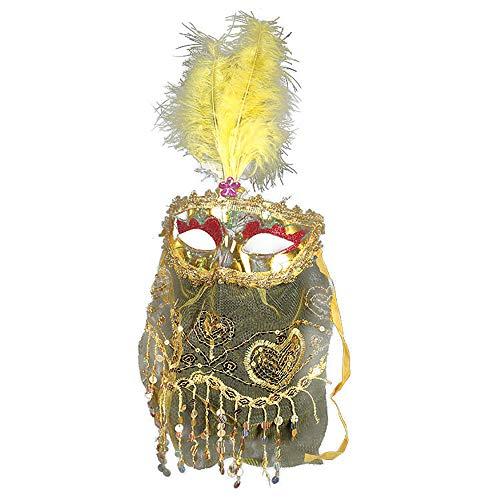 Rose Noir Women's Brilliant Colors Masquerade Mask Oriental Fluffy Veil Feather Venetian mask (Yellow)