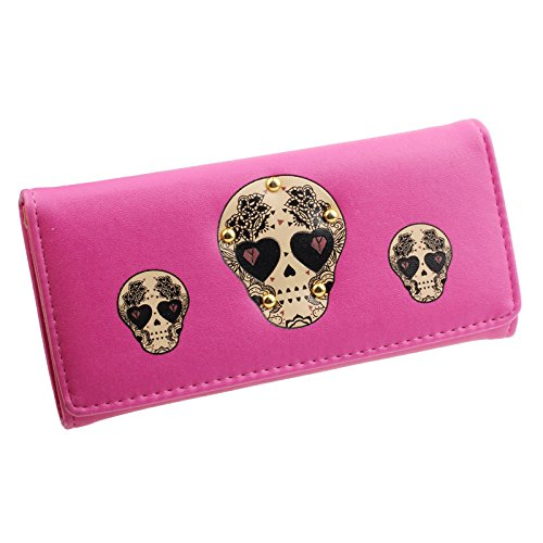 Outtop Women Creative Rivet Skull Pattern Button Clutch Handbag Multi Slots Coin Cards Holder Purse Long Wallet (Hot Pink) (Pink Skull Coin Purse)