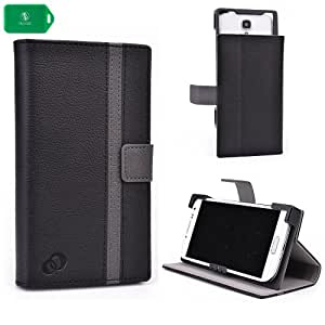 BOOKSTYLE SMARTPHONE HOLDER WITH STANDING FEATURE- BLACK/ GREY- UNVERSAL FIT FOR Kazam Thunder Q4.5