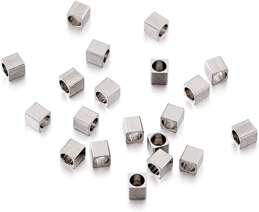 200pcs 304 Stainless Steel Square Metal Beads Smooth Flat Tiny Loose Spacers 8mm