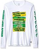 adidas Originals Men's Skateboarding Island Love Affair Long Sleeve Tee, White/Yellow/Green, L