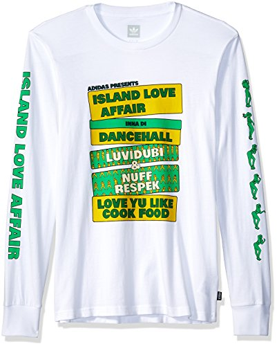 adidas Originals Men's Skateboarding Island Love Affair Long Sleeve Tee, White/Yellow/Green, L
