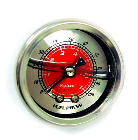 01 Aem Fuel Rail - 90-01 Acura Integra Red Fuel Pressure Gauge Liquid Filled 0-100 PSI