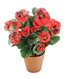Closer2Nature Artificial 30cm Red Pansy Plug Plant - Pot Not Included