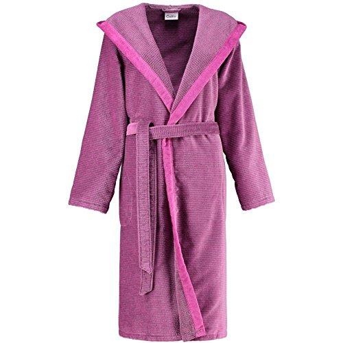 Donne accappatoio Cawö a righe con cappuccio e tasche 38-44: Colour: Pink   Size: Medium