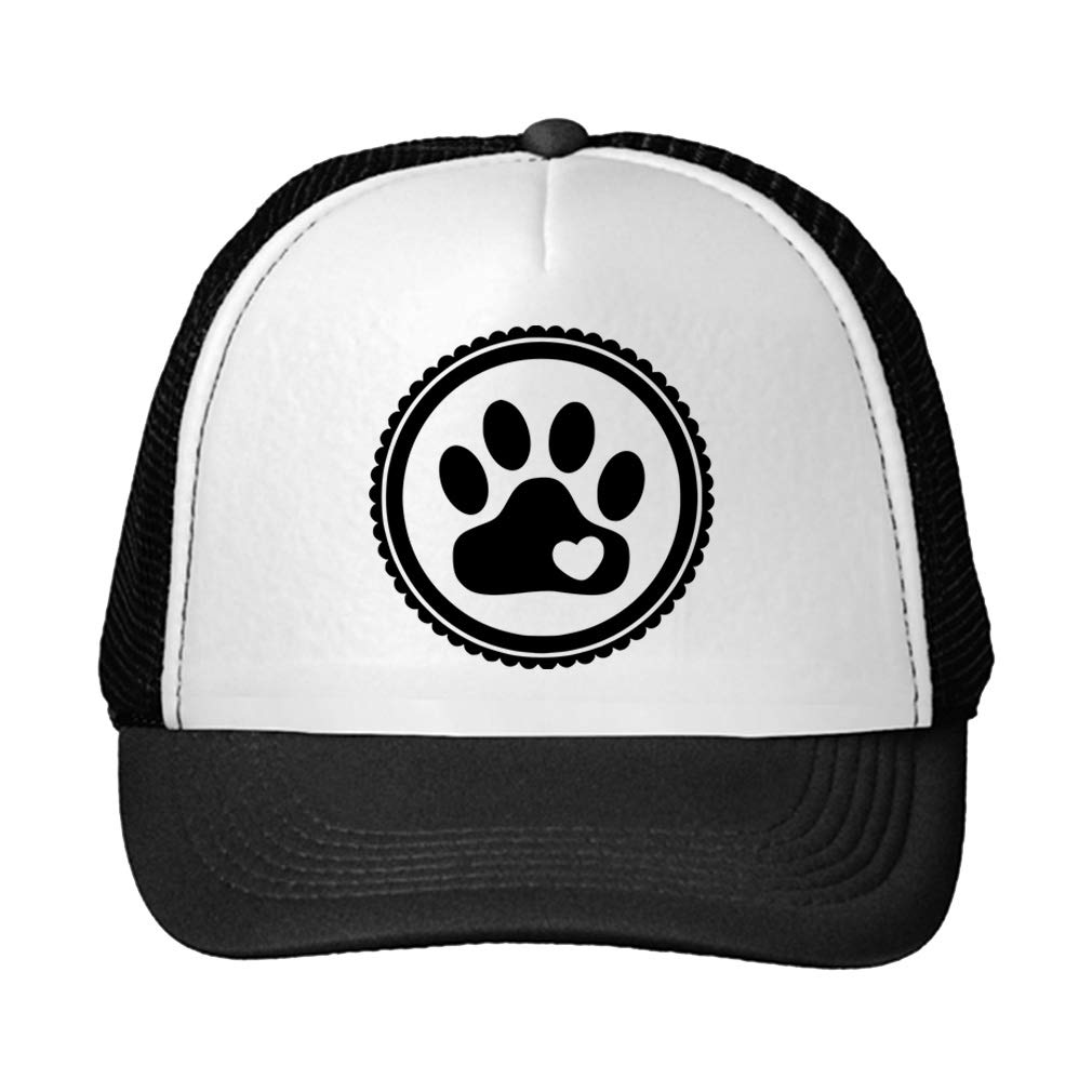 Trucker Hat Paw, Cat, Dog, Pet Polyester Baseball Mesh Cap Snaps Black/Black One Size by Speedy Pros