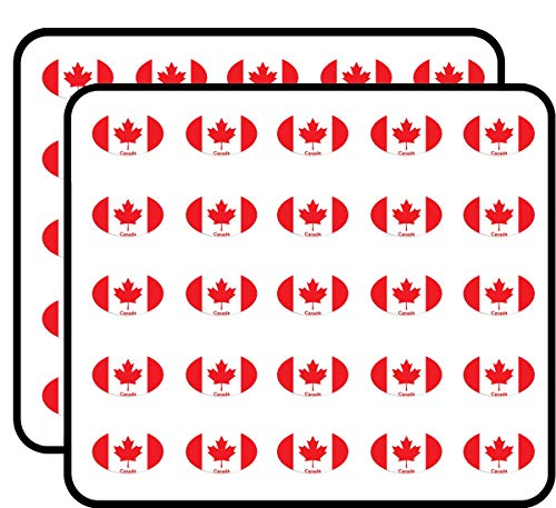Oval Canadian Flag w Canada (car Leaf) Sticker for Scrapbooking, Calendars, Arts, Kids DIY Crafts, Album, Bullet Journals