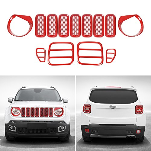 JeCar Tail light Covers & Front Mesh Grille Grill Inserts & Headlight Trim for Jeep Renegade 2015 2016 2017(Red,13pcs)