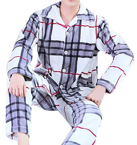 Nightwear Winter Keep 6 UK Long Warm Sleeve Warm Home today Set Flannel Mens Pyjama n081gqwWqf