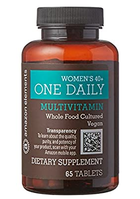 Amazon Elements Women's 40+ One Daily Multivitamin, 66% Whole Food Cultured, Vegan, 65 Tablets