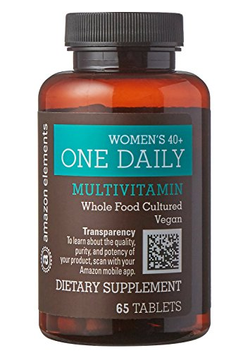 Amazon Elements Women's 40+ One Daily Multivitamin, 66% Whole Food Cultured, Vegan, 65 Tablets, 2 month supply (Element Multi)