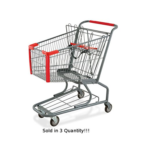 3 New Standard Metal Shopping Cart w/ Bottom Tray and Red Handle (130-liter) by Store Shopping Cart