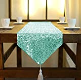 ShinyBeauty Sequin Table Runner with Tassel 12inX90in Mint, Dining Table Runner Sequin Hotel Coffee Table Runners or Wedding Party Decoration