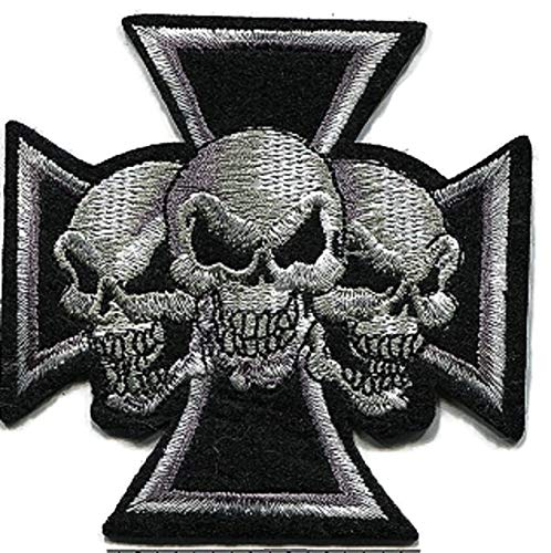 SRETAN 10 Pcs Sticker Iron on Patch Black GrayTri Skull Head Punk Style Fabric Sew On Embroidered Hole Decor Bag Cap Shoe Cloth DIY Stripes Biker Punk Home Office Shop Size 3.34 x 3.34 inch