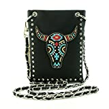 Buffalo Native American Crossbody Mini Messenger Bag Shoulder Purse Western Handbag (Black)