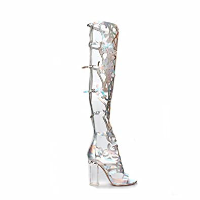 Mark and Maddux Rosy13 Cut out Women s Clear Heel Knee High Sandals in  Silver
