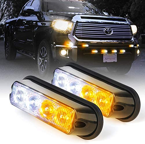 Hidden or Surface Mount 1 Pair of Hidden 6 LED Amber Strobes with Clear Lens