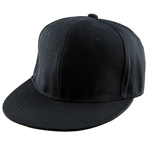 (Samtree Women Men Snapback Hats,Patchwork Solid Color Flat Bill Baseball Cap(01-Black))