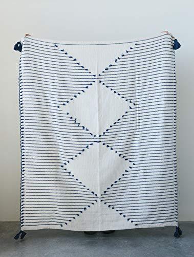Creative Co-op Cotton Woven Cream Diamond Design and Blue Stripes & Tassels 21-Textiles - -