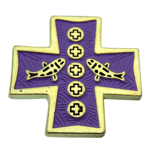 Loaves with Fish 1 Inch Cross Shape Gold Plate Purple Enamel Carded Lapel Pin