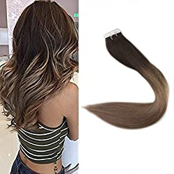 """Full Shine 22"""" Tape in Hair Extensions Remy Human Hair Ombre Balayage Hair Color #2 Fading to #6 and #18 Ash Blonde Real Hair Glue in Extensions 100g 40 Pcs Per Package"""