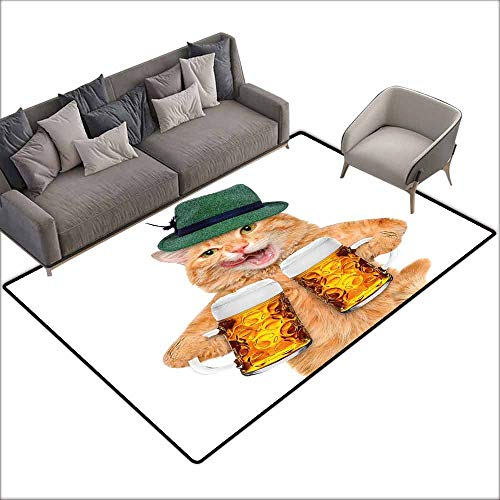 """Floor mats for Kids Cat,Cool Cat with Hat and Beer Mugs Bavarian German Drink Festival Tradition Funny Humorous,Multicolor 48""""x 72"""",Rubber mat"""
