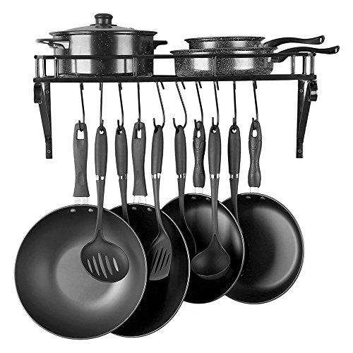 Kitchen Wall Mounted Pot Pan Rack CookwareWith 10 Hooks-Large Capacity(Black)
