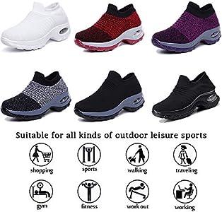 K&T Womens Cushion Walking Shoes Sock Sneakers Tennis Shoes