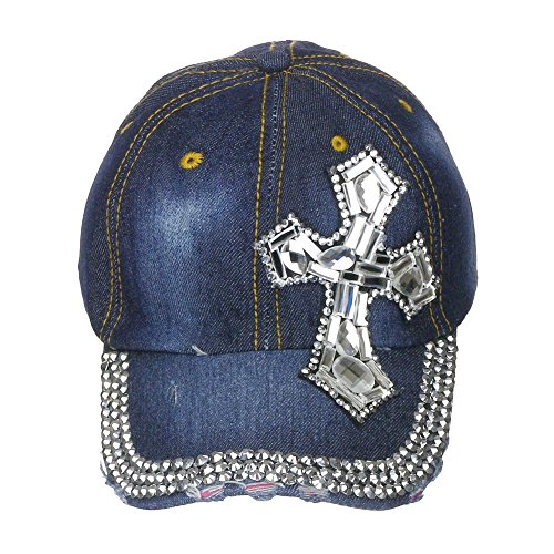 Baseball Cap Hat - One Size Worn Out Style Denim - Arrow Tip Cross (Out Arrow)