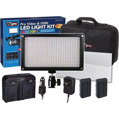 Vidpro LED-312 9pc VariColor Photo/Video LED Light Kit with 2 Batteries, Charger, Diffuser & Case by VidPro