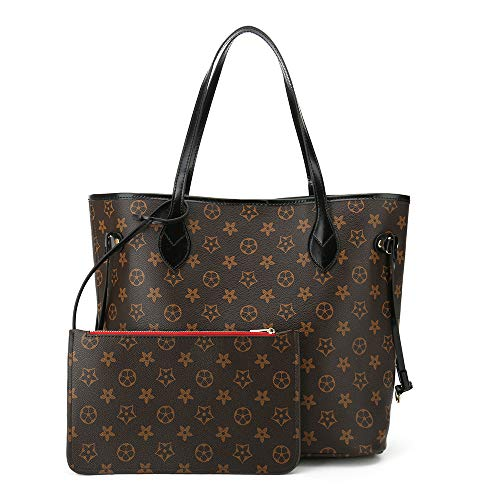 Womens Tote Bags Soft Leather Large Capacity Shoulder Bags Work Laptop for Ladies Handbags with Wallet 2pcs Set(Black)