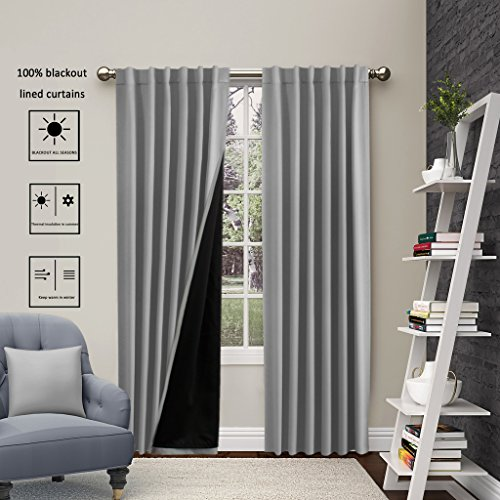 Turquoize FULL BLACKOUT Lined Curtains Back tab/ Rod- Pocket (2 panels), 100% Blackout drapes, Double-Deck, Thermal Insulated Solid Curtains for winter, 52″ W x 96″ L