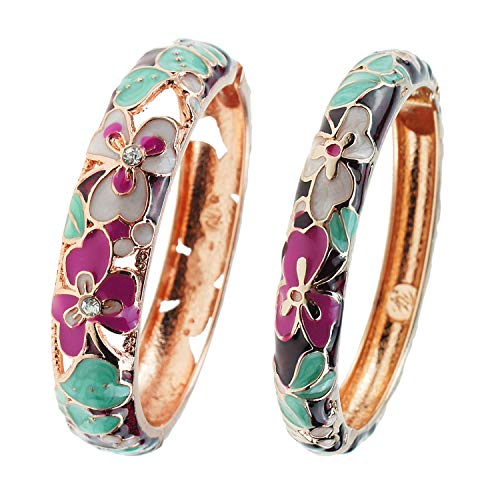 UJOY Vintage Bangle Gold Flower Hollow Carved Zinc Alloy Hinged 60mm Jewelry Box for Women 88A22-3 wine red