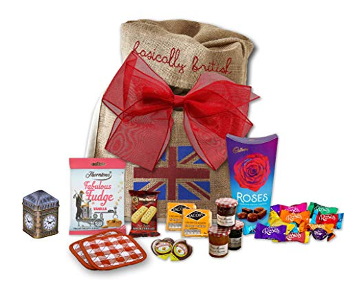 English Basket - The Great British Tea Hamper | British Tea Gift Set British Gifts | Big Ben New English Tea Tin Coasters in Basically British Gift Bag