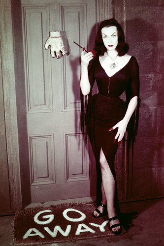 (maila nurmi in Plan 9 from Outer Space as Vampira in costume by spooky door 24x36 Poster)