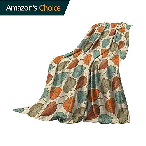 Floral Couch Blanket,Onion Flower Leaves Mother Nature in Autumn Art Nouveau Winter Cherry Rural Pattern Super Soft Light Weight Cozy Warm Plush,30