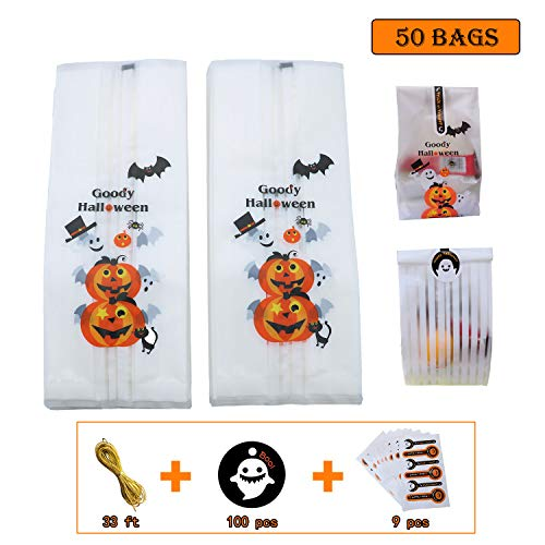 Pack of 50 Halloween Candy Bags, 4'' x