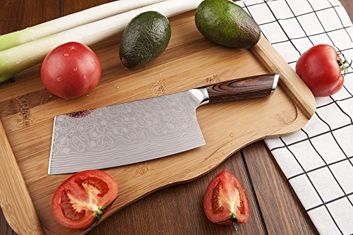 EKUER 7-Inch Chinese Chef's Meat Chopper Cleaver Butcher Vegetable Knife for Home Kitchen or Restaurant,German High Carbon Stainless Steel by EKUER (Image #3)