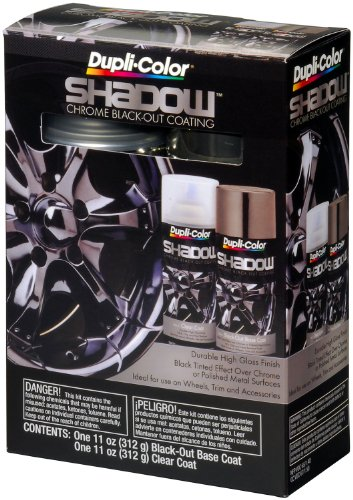 Dupli-Color (ESHD10007-2 PK) Black/Clear Chrome Black-Out Coating 2-Can Aerosol Kit - 11 oz., (Case of 2) (Dupli Color Wheel Coating)