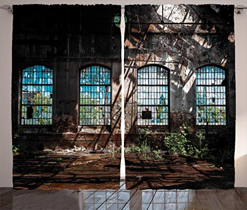 - Ambesonne Industrial Decor Collection, Industrial Interior with Bright Light from Tall Windows Ruins Hallway Station Shadow Image, Living Room Bedroom Curtain 2 Panels Set, 108 X 84 Inches, Brown
