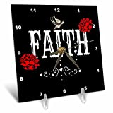3dRose RinaPiro Sugar Skull - Faith. Red Magnolia flowers. Bird. Black background. - 6x6 Desk Clock (dc_282861_1)