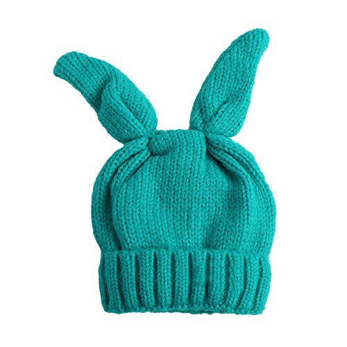 "Price comparison product image BIBITIME Knit Rabbit Ears Beanie Bunny Ear Hat Winter Warm Cap Adult or Kids (Adult Peacock Blue, 24""-25"")"
