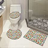 Doodle Toilet carpet floor mat Various Home Interior Elements Armchair Table Mirror Design Elements Doodle Style 3 Piece Shower Mat set Multicolor