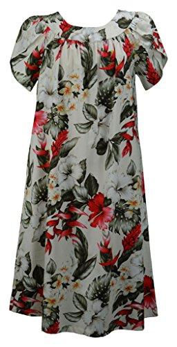 Long Muumuu - RJC Women's Scoop-Neck Floral Short-Sleeve Long Straight Dress, Beige, Small