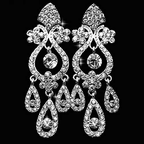 Chandelier Rhinestone Earrings Bridal Long Drop Womens Jewelry