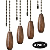 4 Pieces Ceiling Fan Chain Pulls Wooden Pull