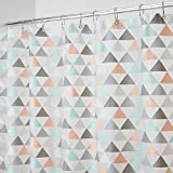 Coral Shower Curtain mDesign Triangles Mold and Mildew-Resistant PEVA 5 Gauge Shower Curtain - Triangles, 72 x 72 inches, Coral/Mint …